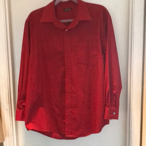 Red dress shirt. Poly and cotton